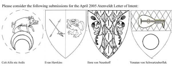 March Letter of Presentation Blazons